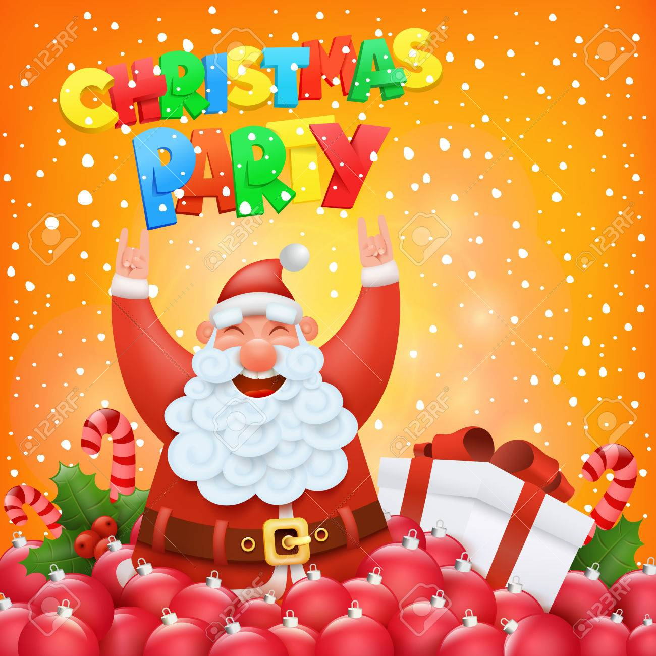 Christmas Party Invitation Card With Funny Santa Claus Character ...