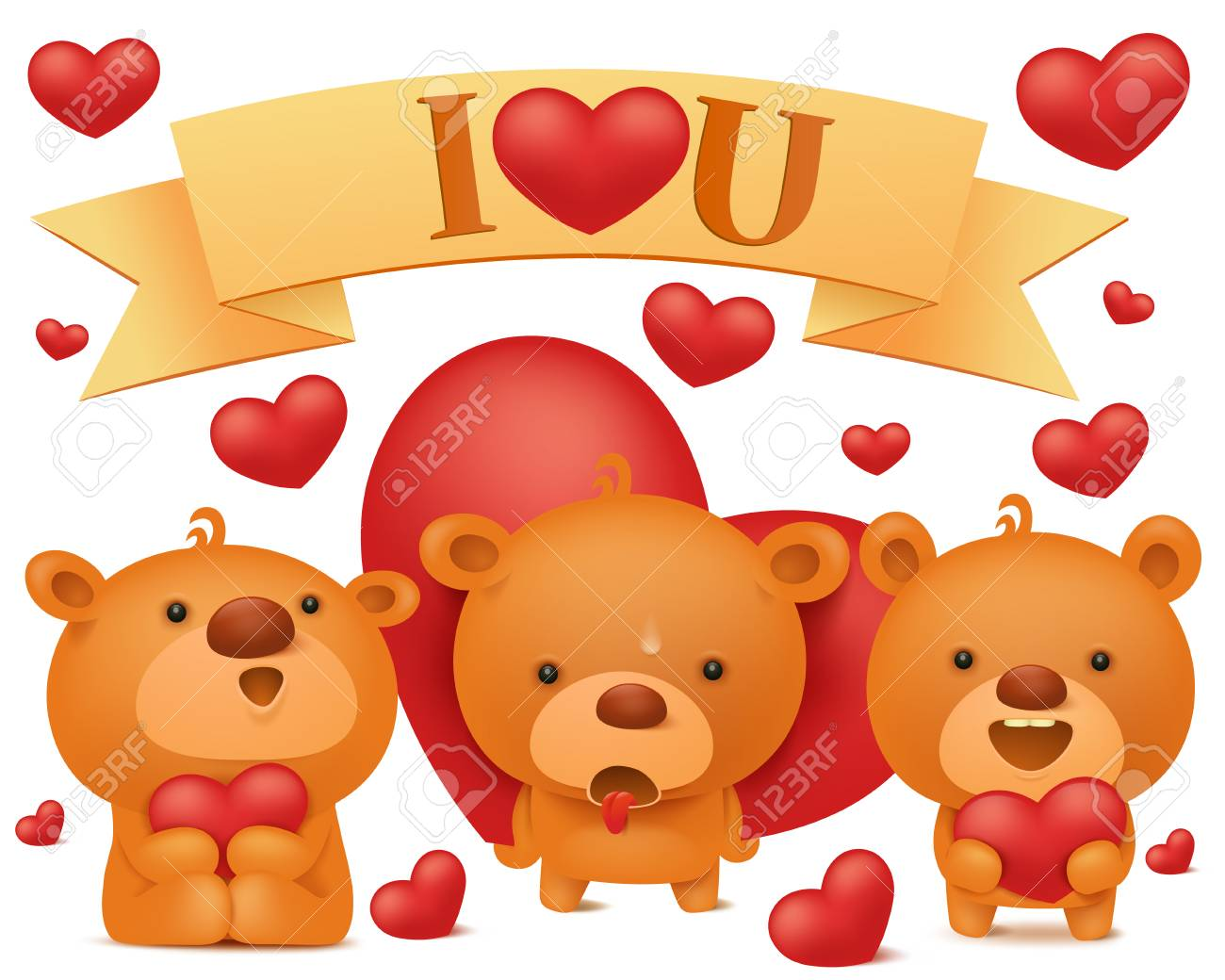 set of teddy bear emoji characters with red hearts valentines