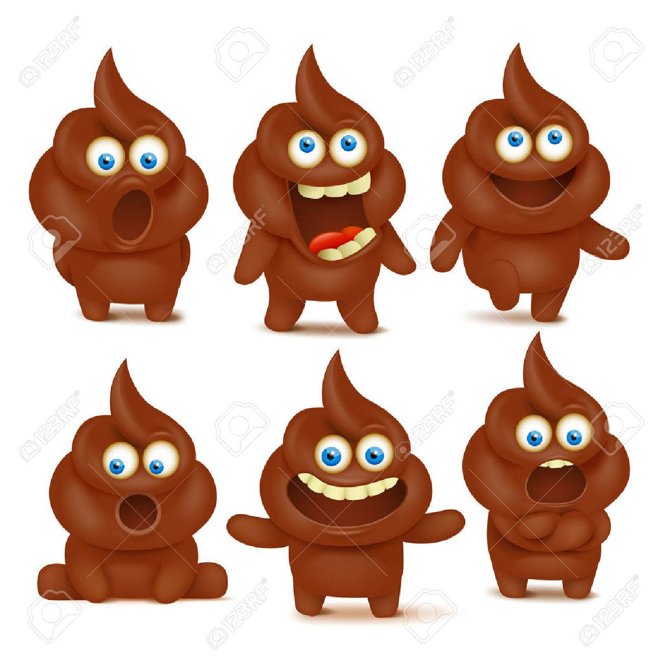 Set Of Cute Poop Emoji Characters With Differen Emotions Vector