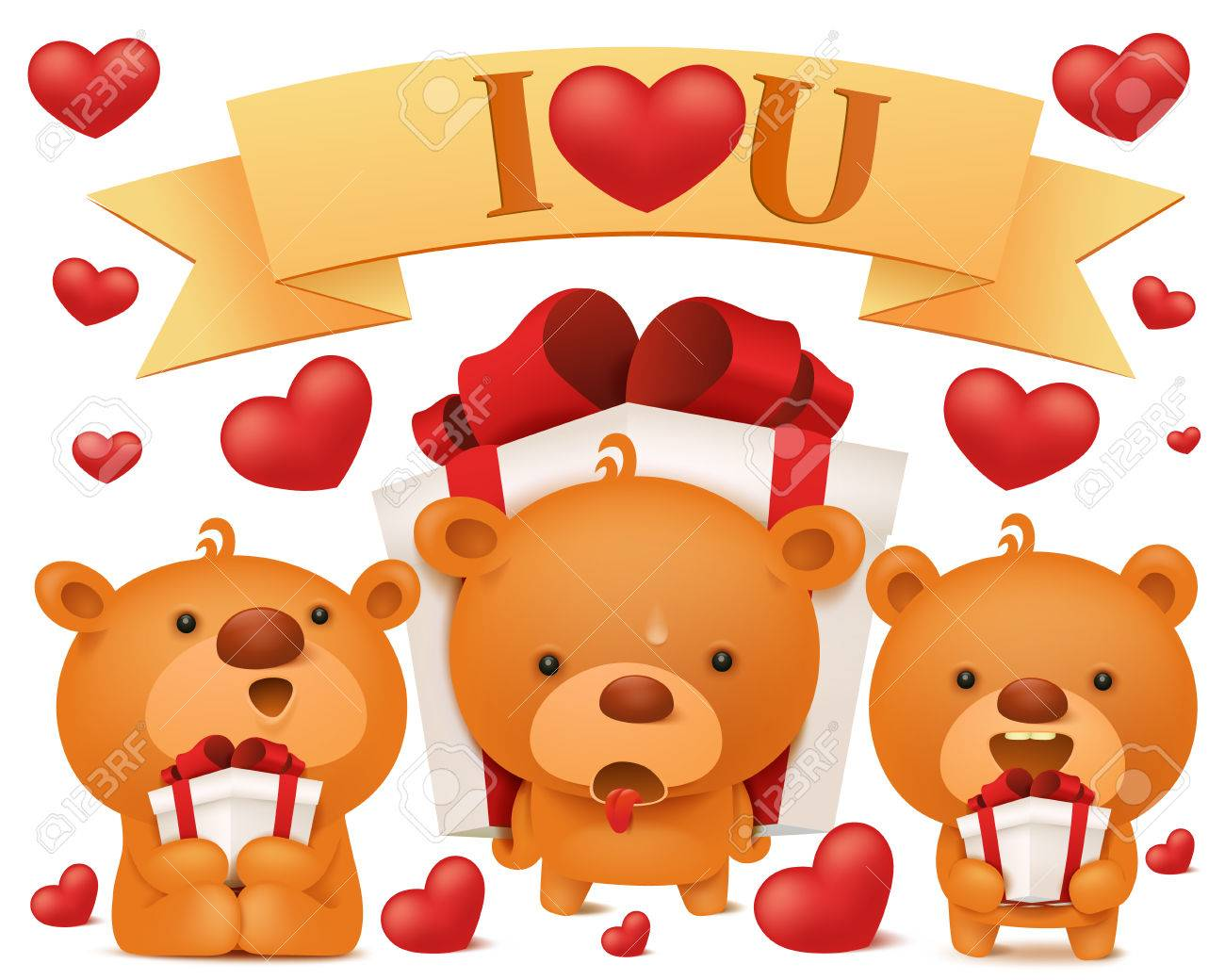 set of toy emoji teddy bears with gift boxes birthday collection