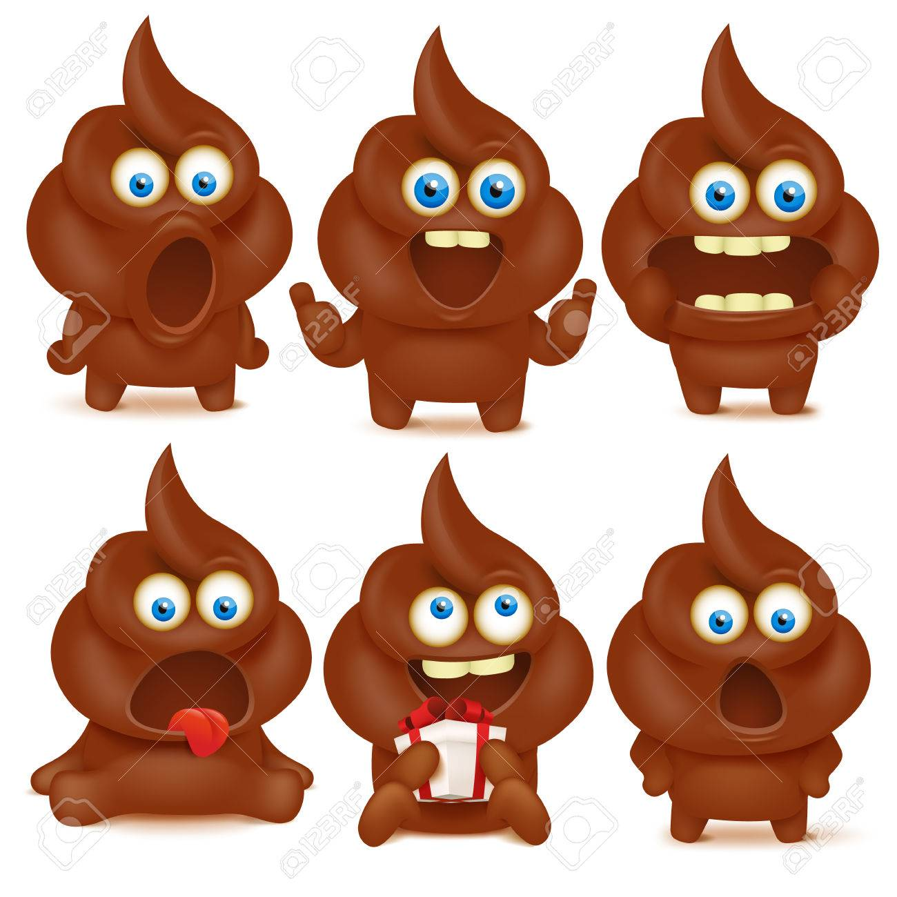 Set Of Cute Poop Emoji Characters With Different Emotions Vector