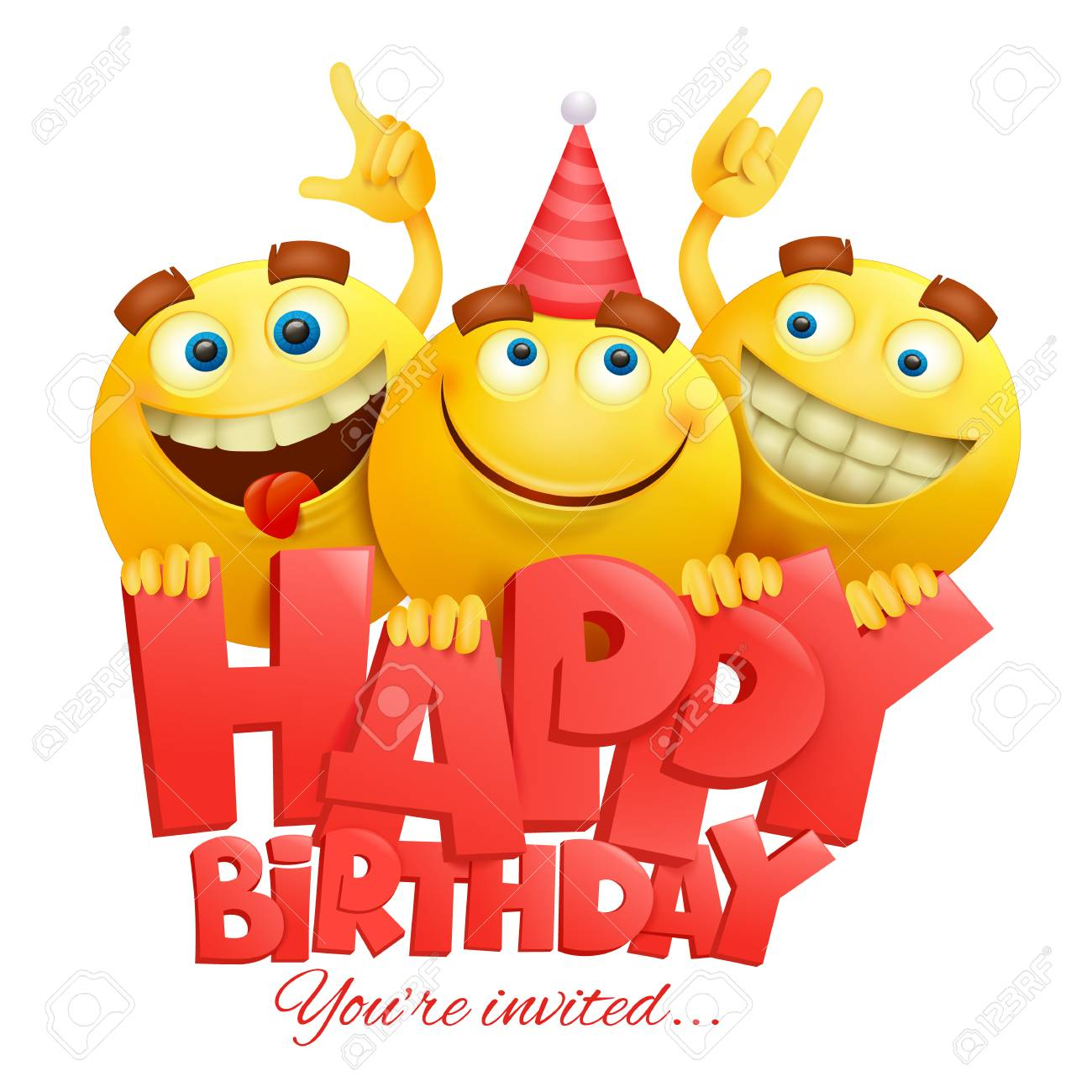 Smiley Yellow Faces Emoji Characters Happy Birthday Card Realistic