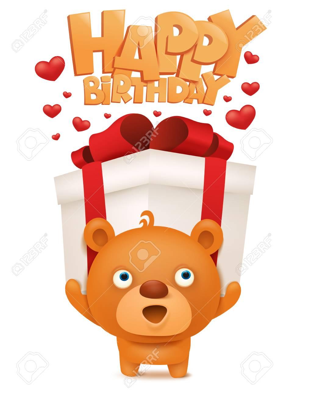 Brown Lustig Emoji Teddybar Mit Geschenk Box Alles Gute Zum