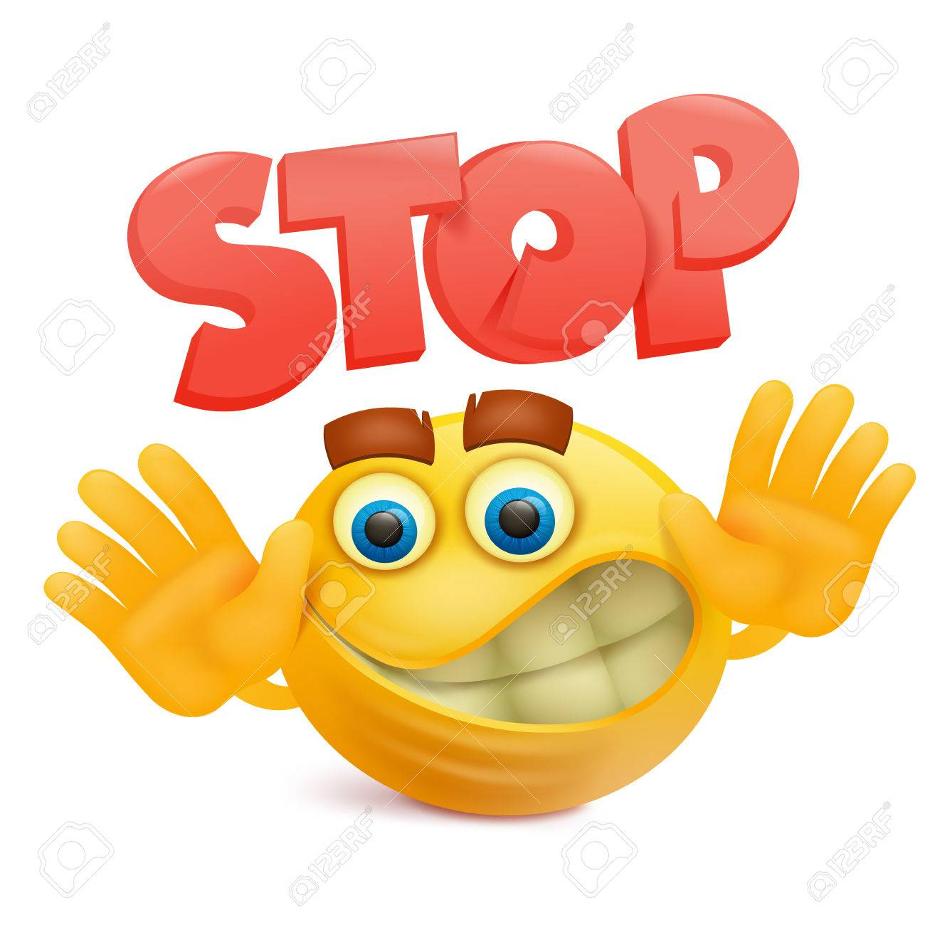 Yellow Smile Face Emoji Cartoon Character With Stop Gesture Vector