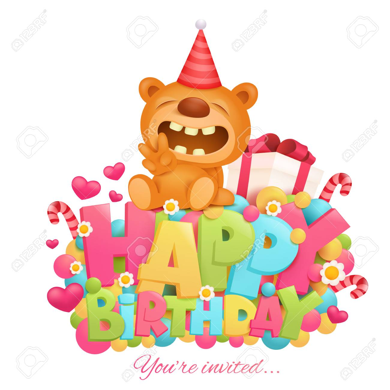 Happy Birthday Invitation Card Template With Toy Teddy Bear Cartoon ...