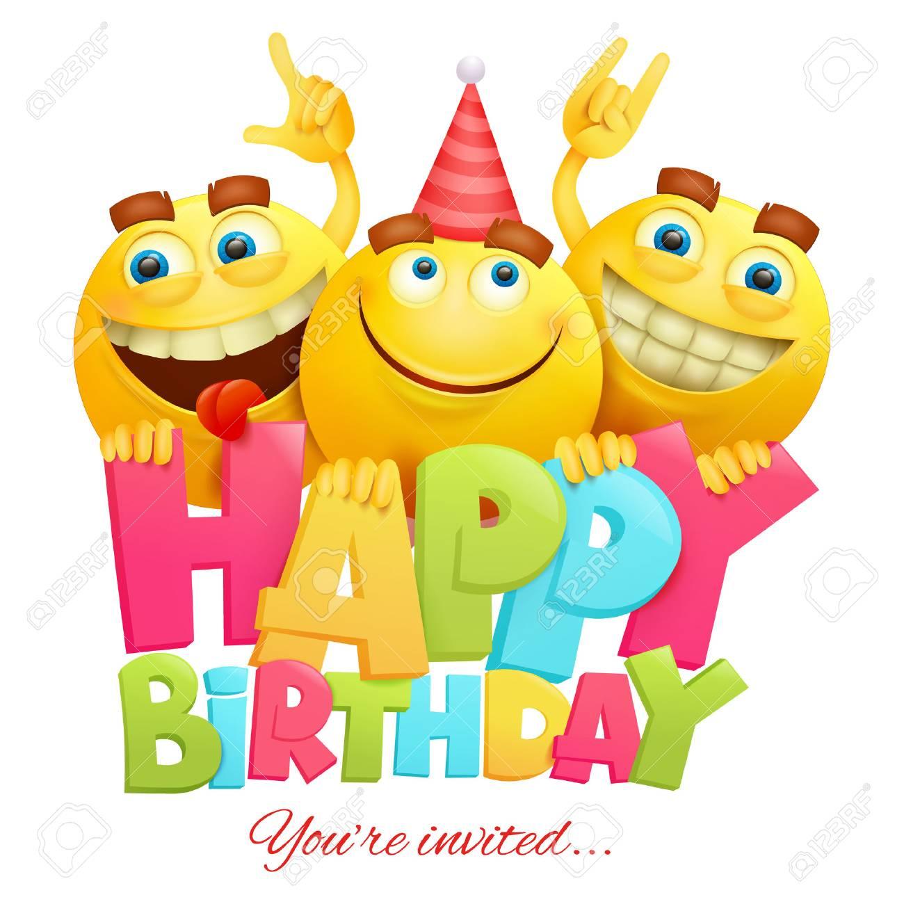 Plantilla De Tarjeta De Invitación De Feliz Cumpleaños Con Tres Personajes Emoji