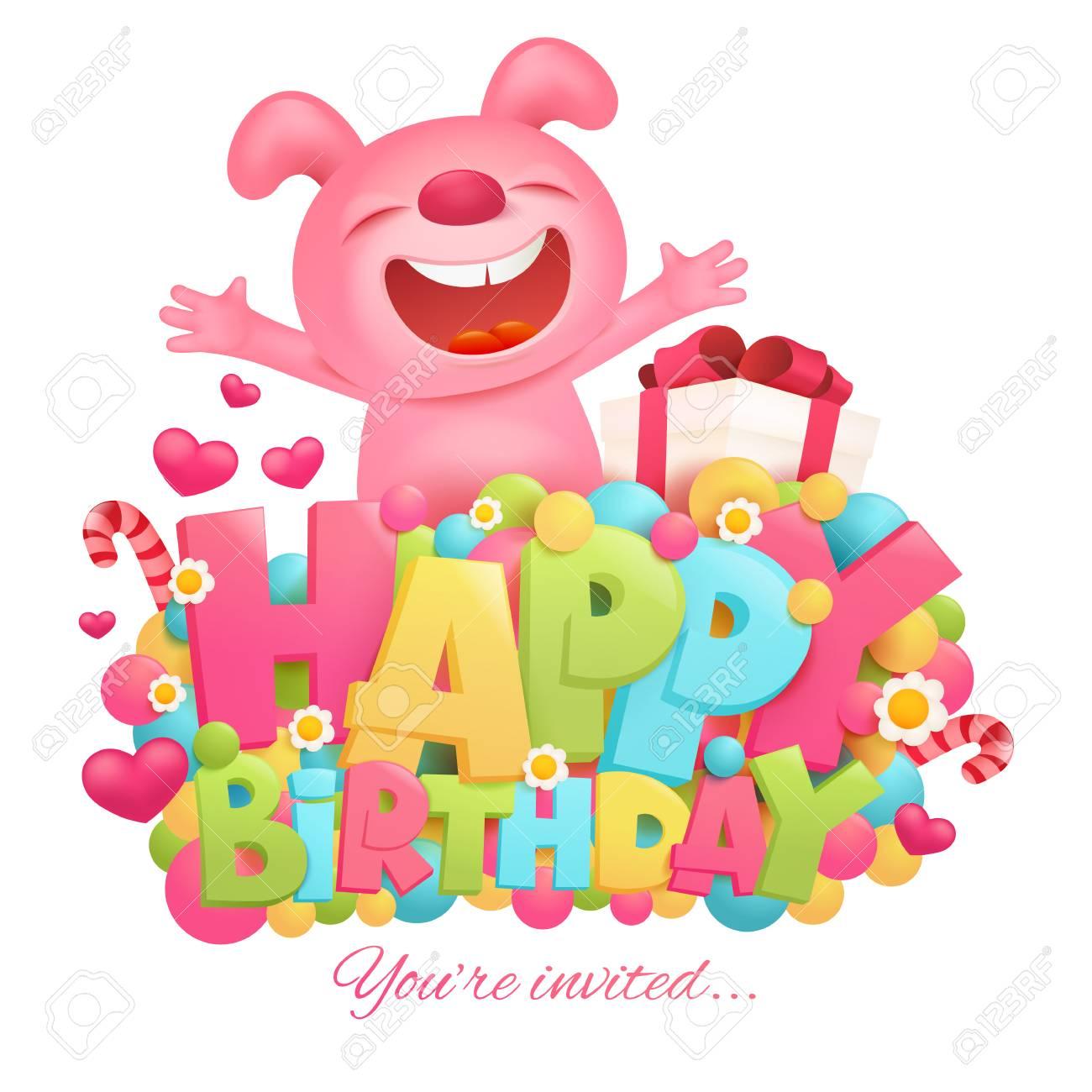 Plantilla De Tarjeta De Invitación De Feliz Cumpleaños Con Personaje De Dibujos Animados De Emoji Conejito Rosa De Juguete
