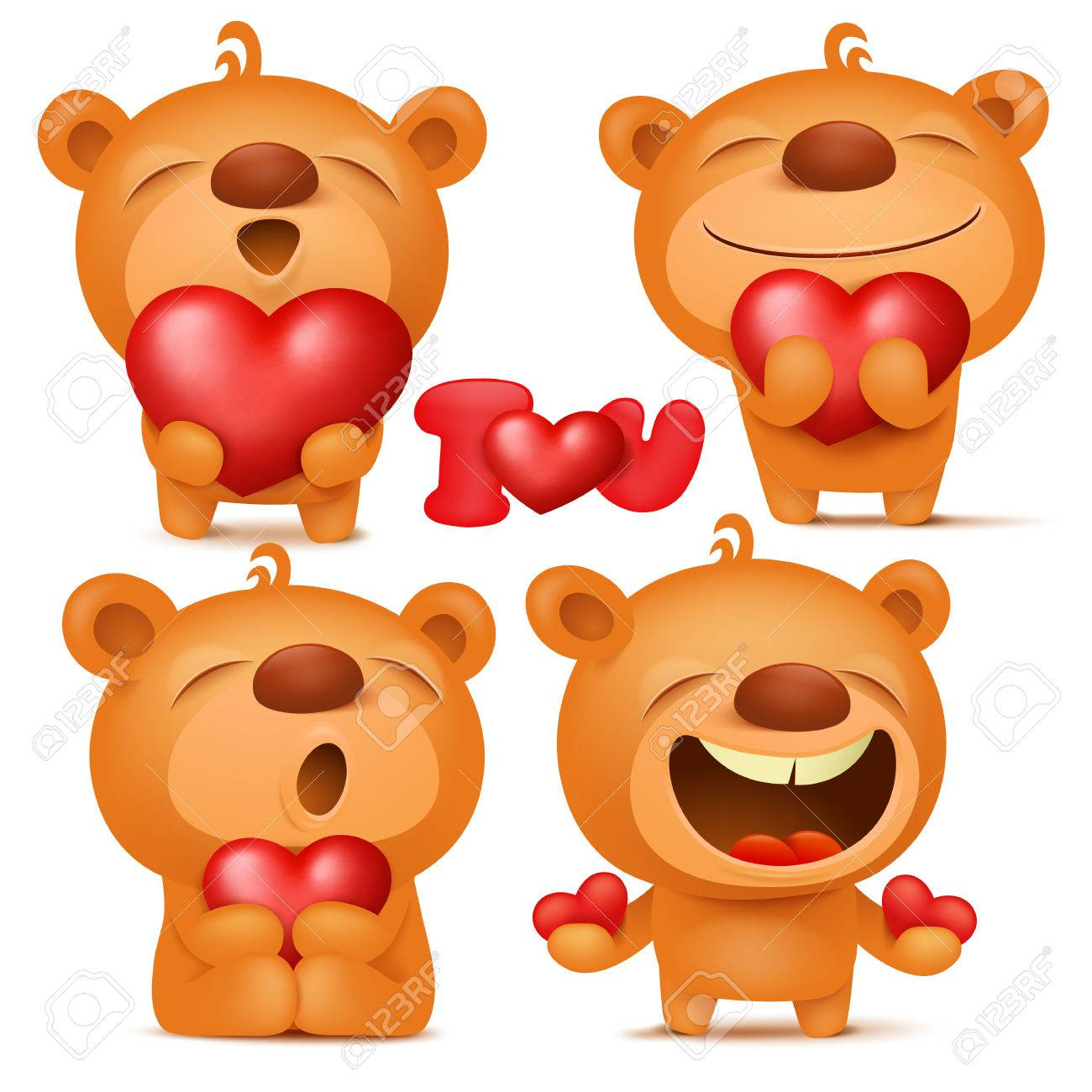 valentine teddy bear emoji cartoon characters set with hearts