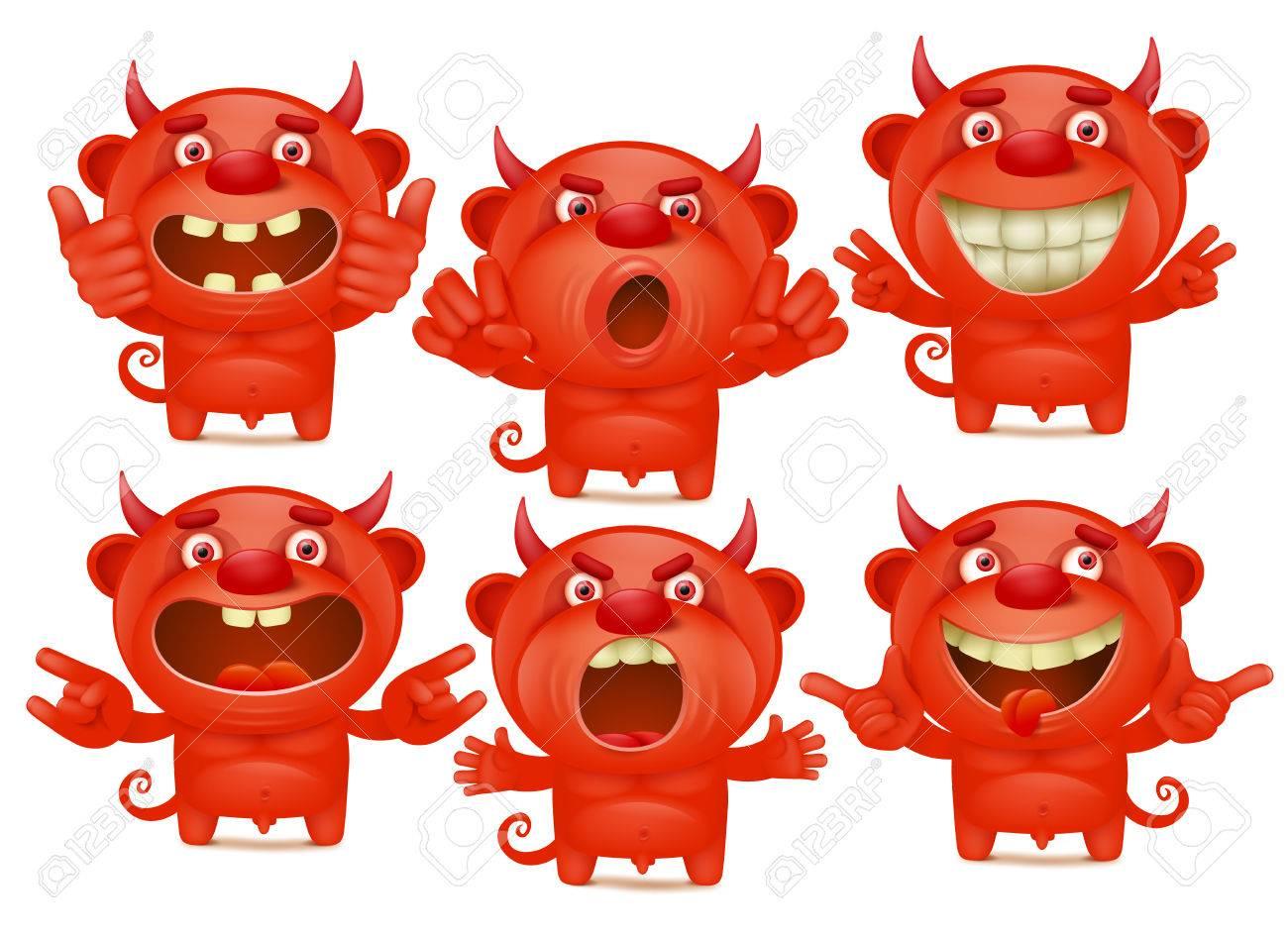 Personnages De Dessins Du Diable Rouge Dans Differentes Emotions Emoji Set Clip Art Libres De Droits Vecteurs Et Illustration Image 80321498