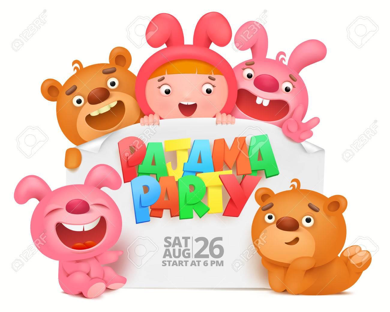 Carte D Invitation De Soirée Pyjama Avec Des Personnages Drôles De Dessin Animé