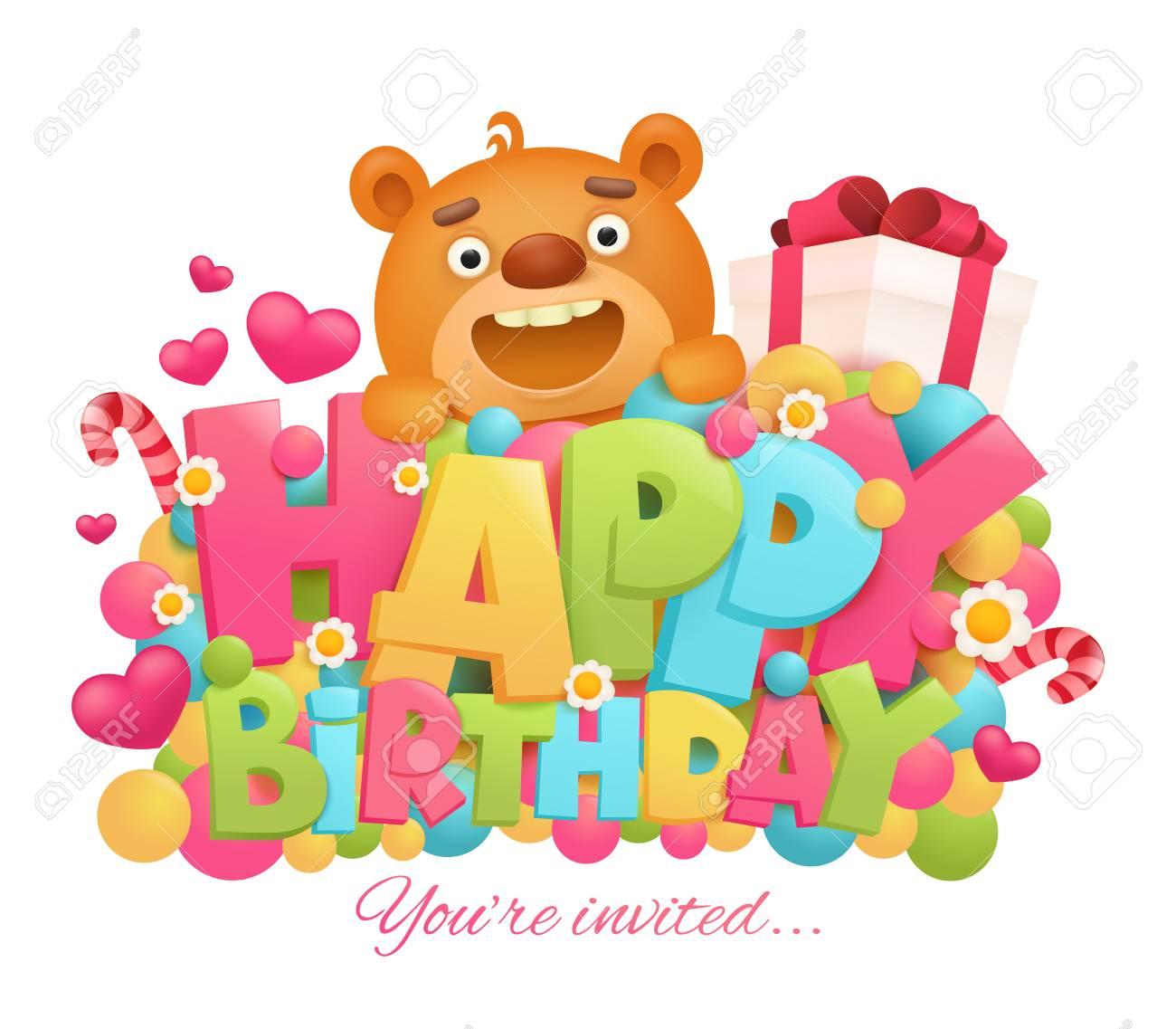 Happy Birthday Greeting Card With Cartoon Teddy Bear Character