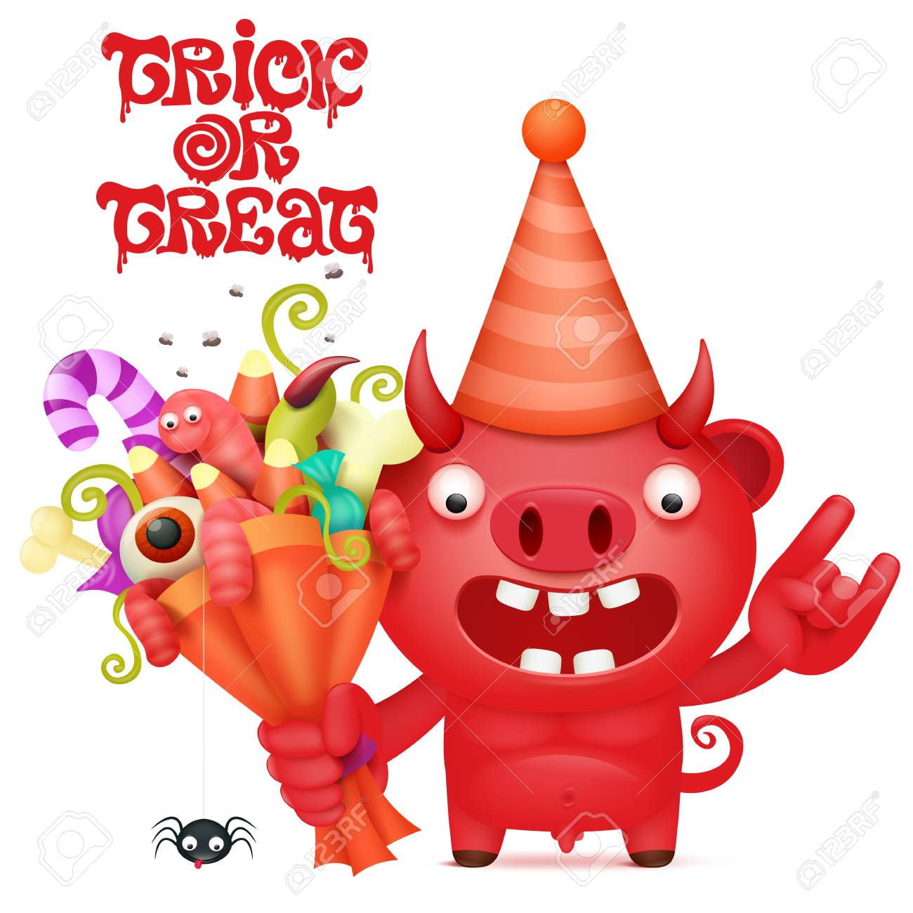 Funny cartoon red devil character with halloween bouquet. Vector illustration - 85091987