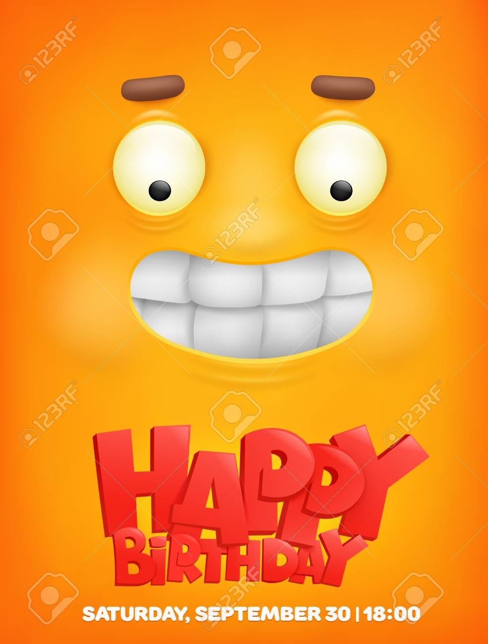 Happy Birthday Greeting Card With Emoji Smile Face Vector Illustrations Stock