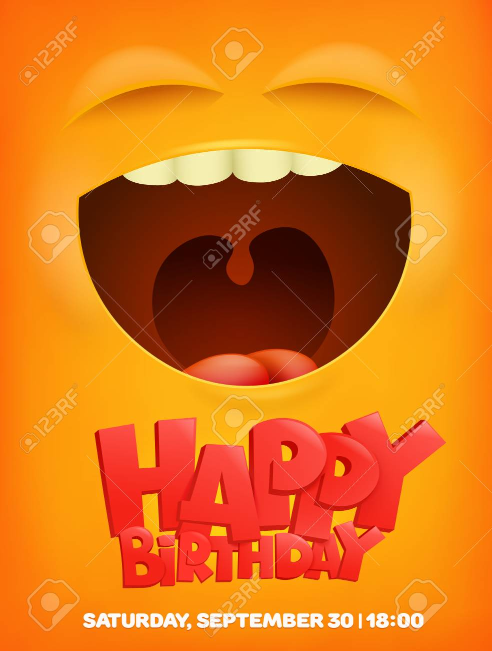 Happy Birthday Greeting Card With Emoji Smile Face Vector Illustration Stock