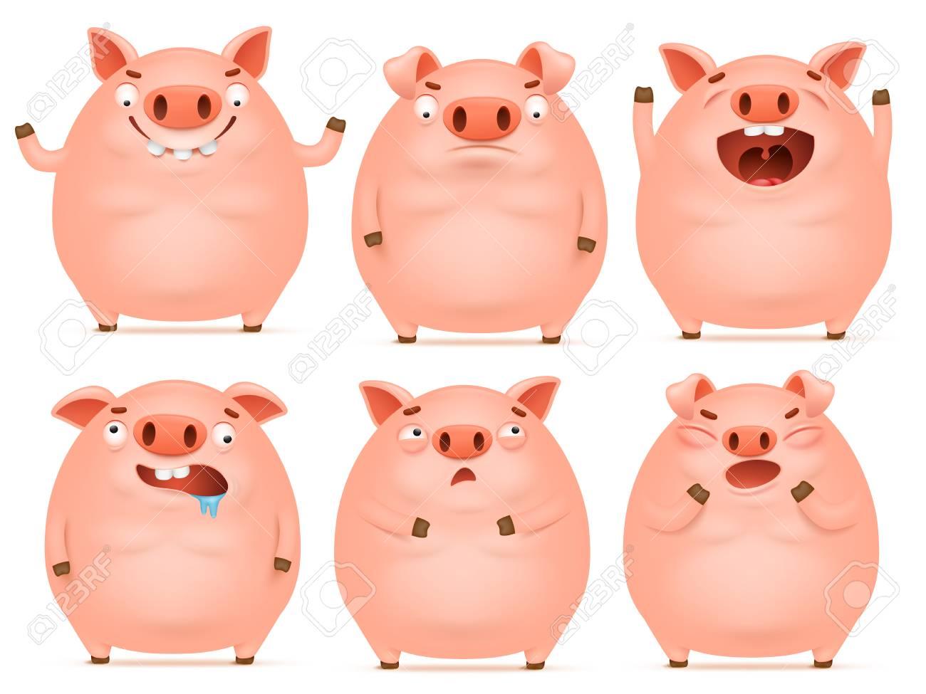 set of cute cartoon emotional pink pig characters vector