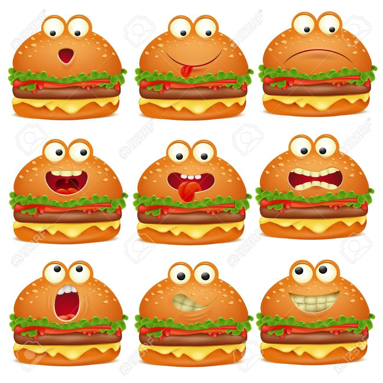 かわいい絵文字キャラクターのハンバーガー セットのイラスト素材