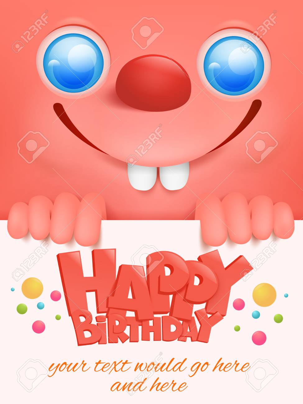 Greeting Card With Funny Pink Emoticon Face Template Happy Birthday Royalty Free Cliparts Vectors And Stock Illustration Image 86618507
