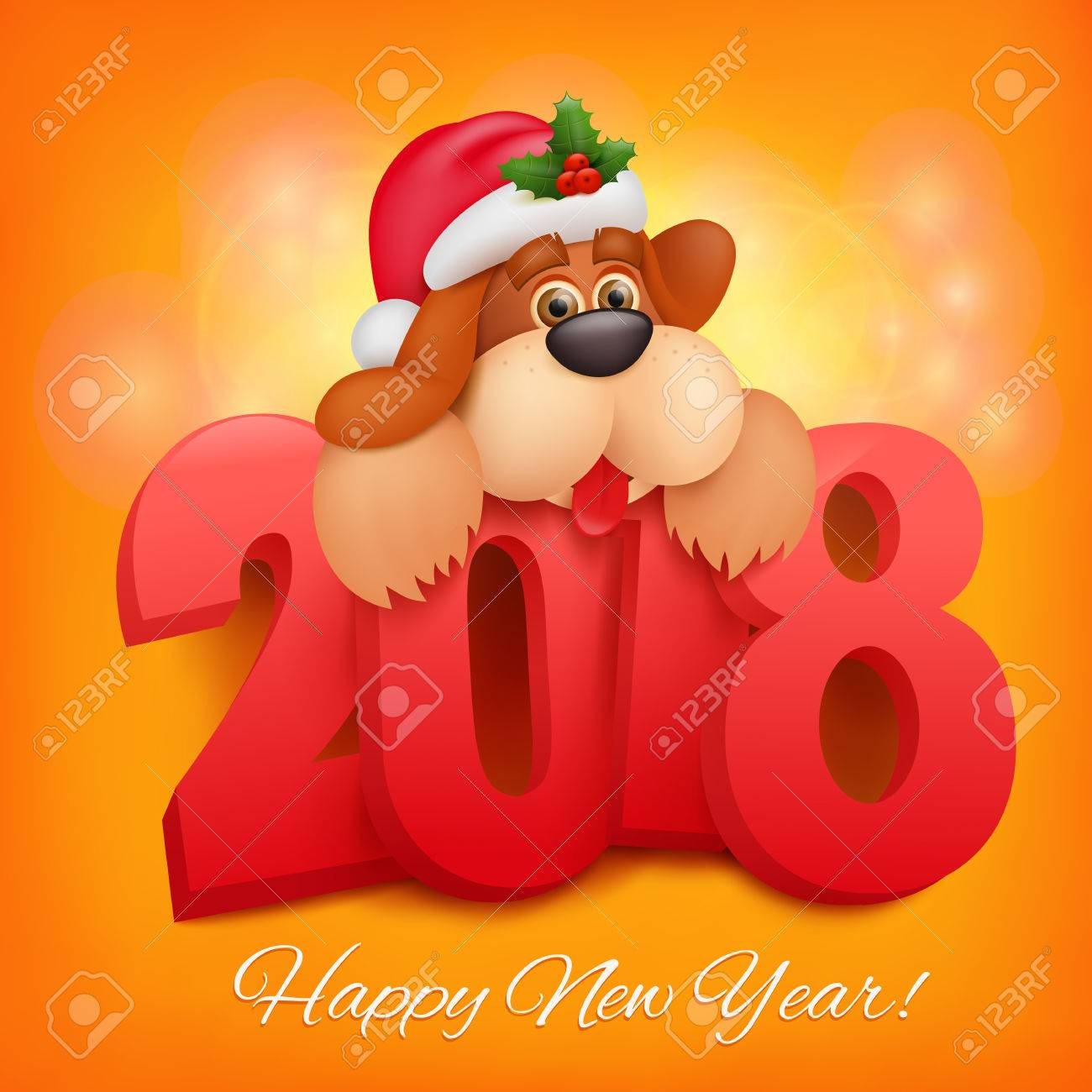 2018 happy new year greeting card celebration background with 2018 happy new year greeting card celebration background with funny dog character vector illustration kristyandbryce Gallery