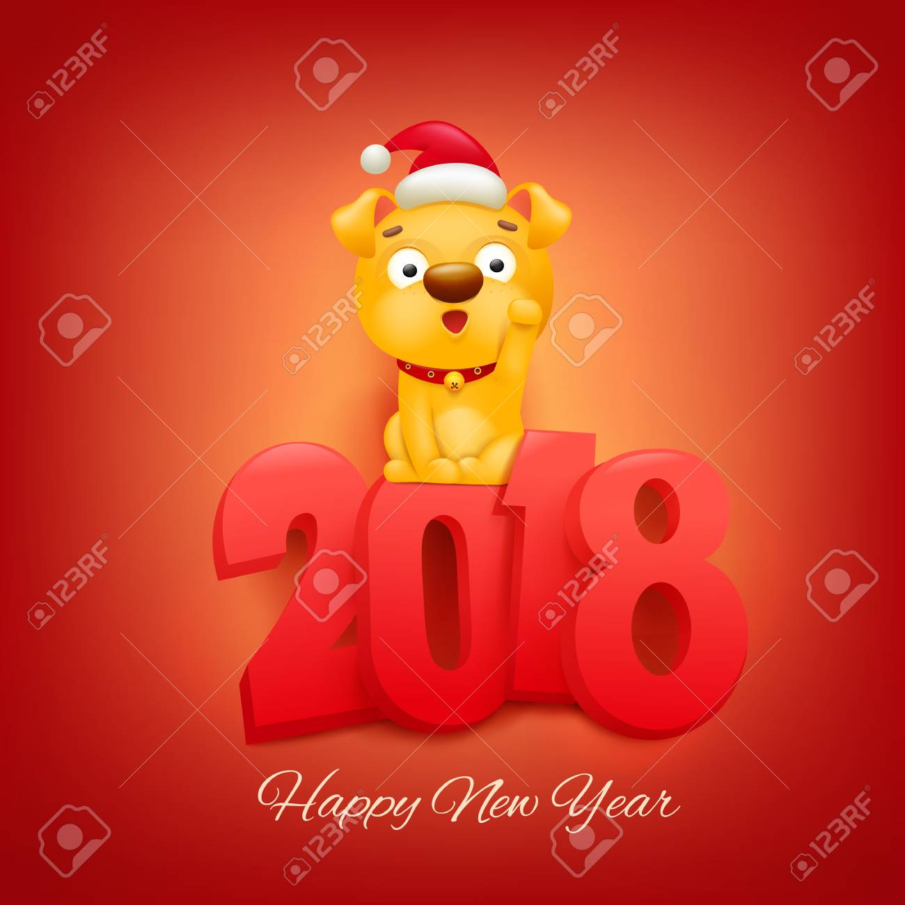 2018 new year invitation card with yellow dog cartoon character vector illustration stock vector 91174911