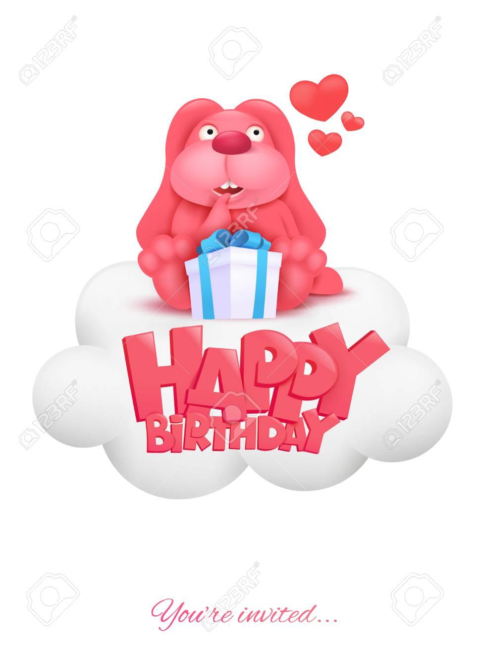 Tarjeta De Invitación De Feliz Cumpleaños Con El Personaje De Conejo Rosa De Dibujos Animados Sentado En La Nube