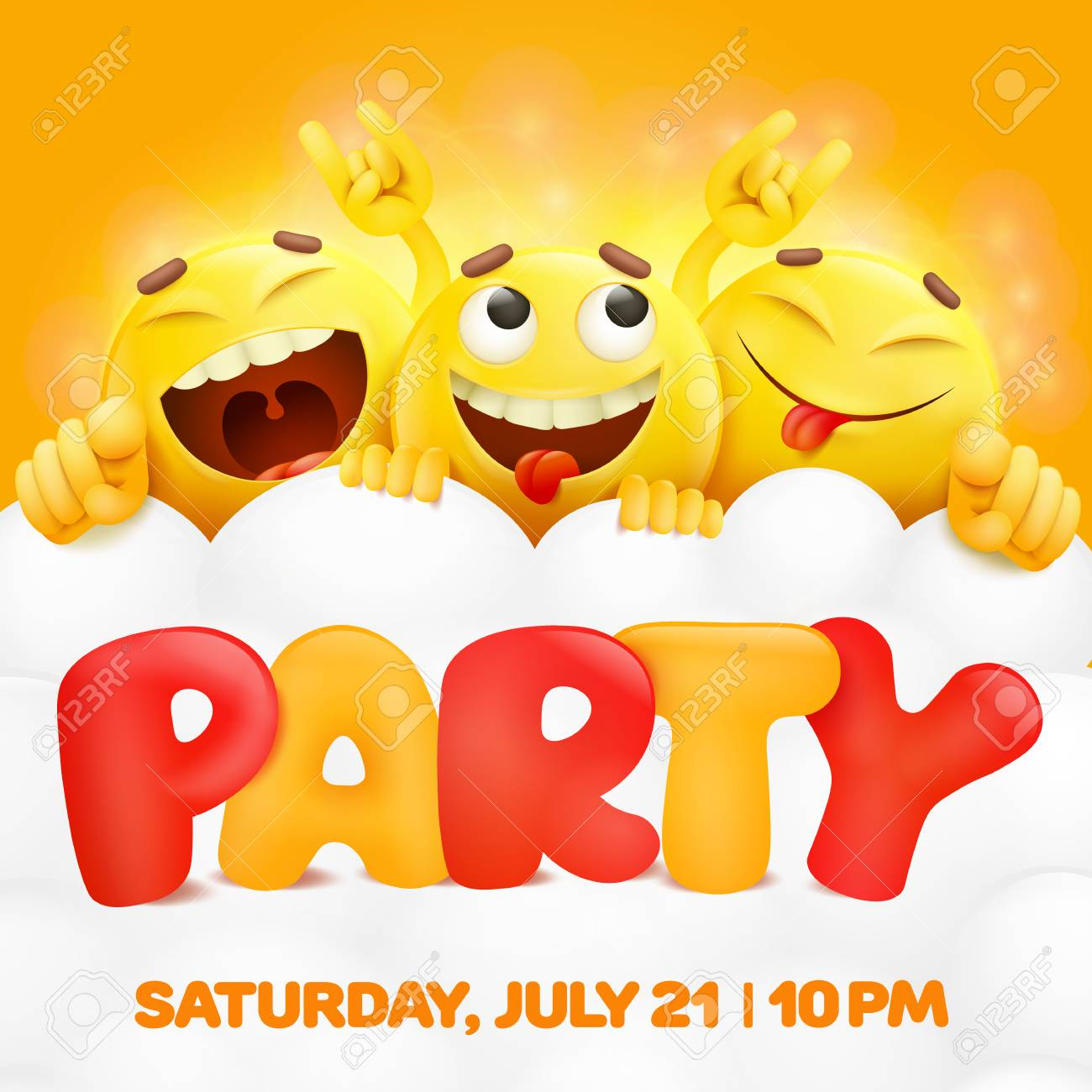 Party Invitation Card Template With Three Emoji Characters Vector