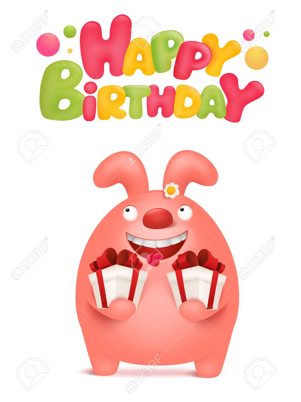 Happy Birthday Card Template With Pink Bunny Cartoon Character Vector Illustration Stock