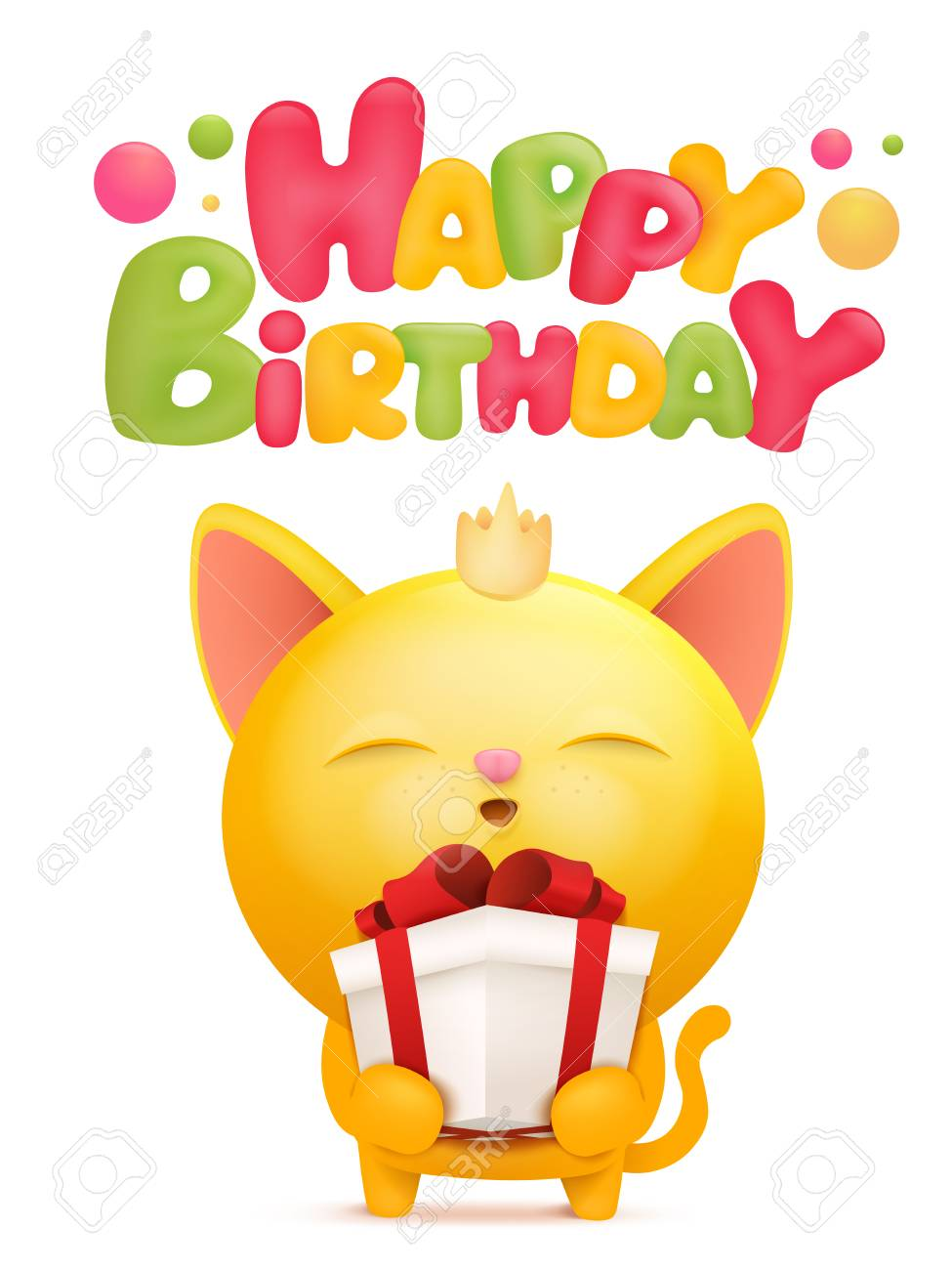 Happy Birthday Card Template With Yellow Emoji Cat Character Vector Illustration Stock