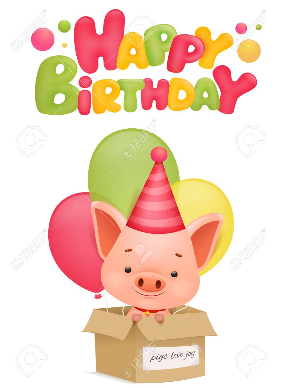 Happy Birthday Card Template With Pig Cartoon Character Vector Illustration Stock