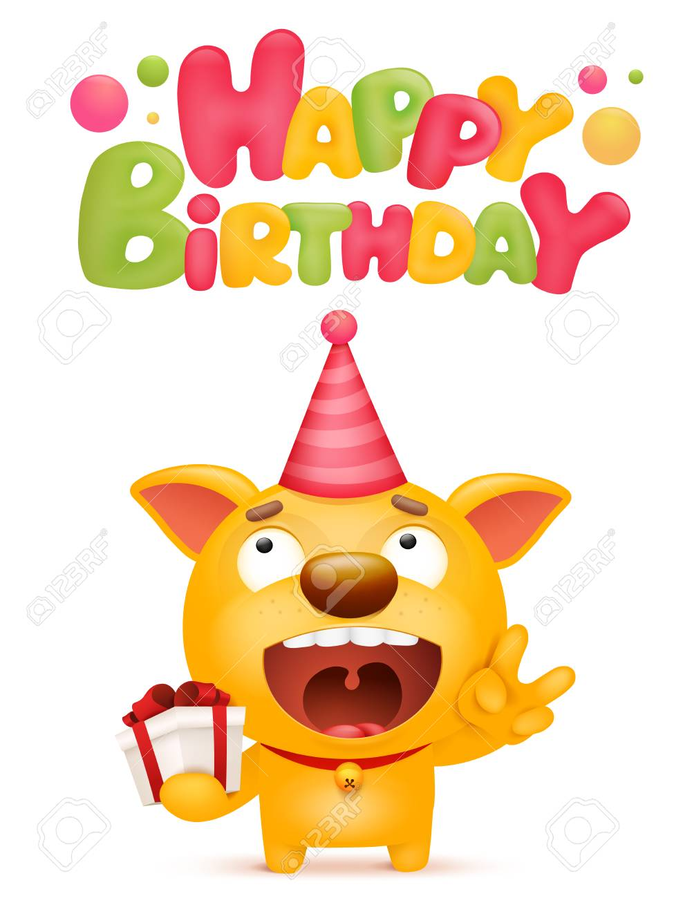 Happy Birthday Card Template With Yellow Emoji Dog Cartoon Character Vector Illustration Stock