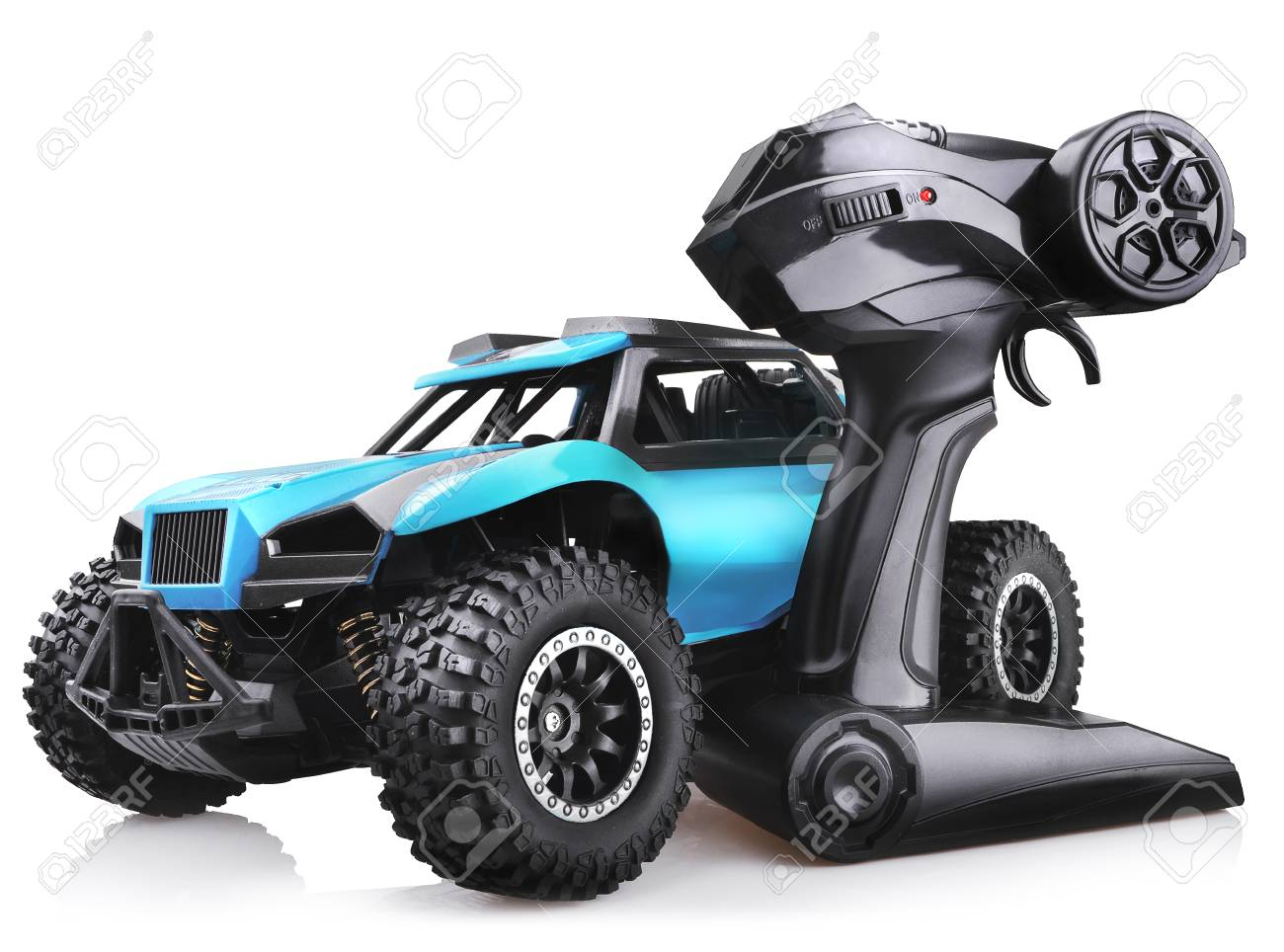 RC model rally car toy, offroad buggy with remote control  Isolated
