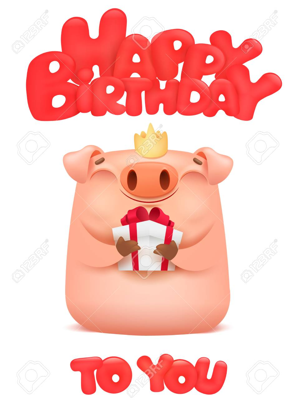 Happy Birthday Card With Cute Pig Cartoon Emoji Character Vector Illustration Standard Bild