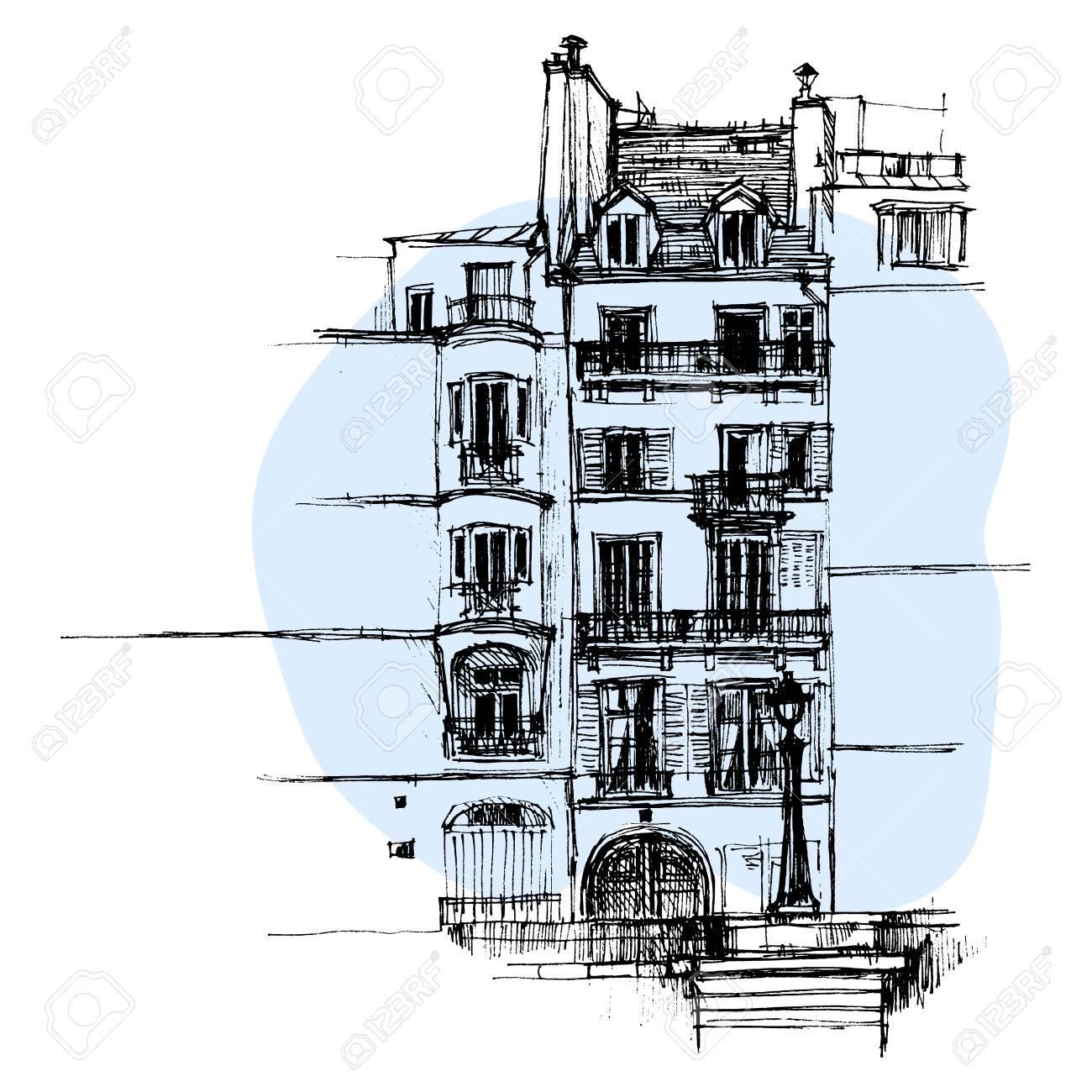 Maison de Paris dessinés à la main, croquis urbain style vector  illustration isolée sur fond bleu. Croquis, style, dessin, historique,  parisien, ...