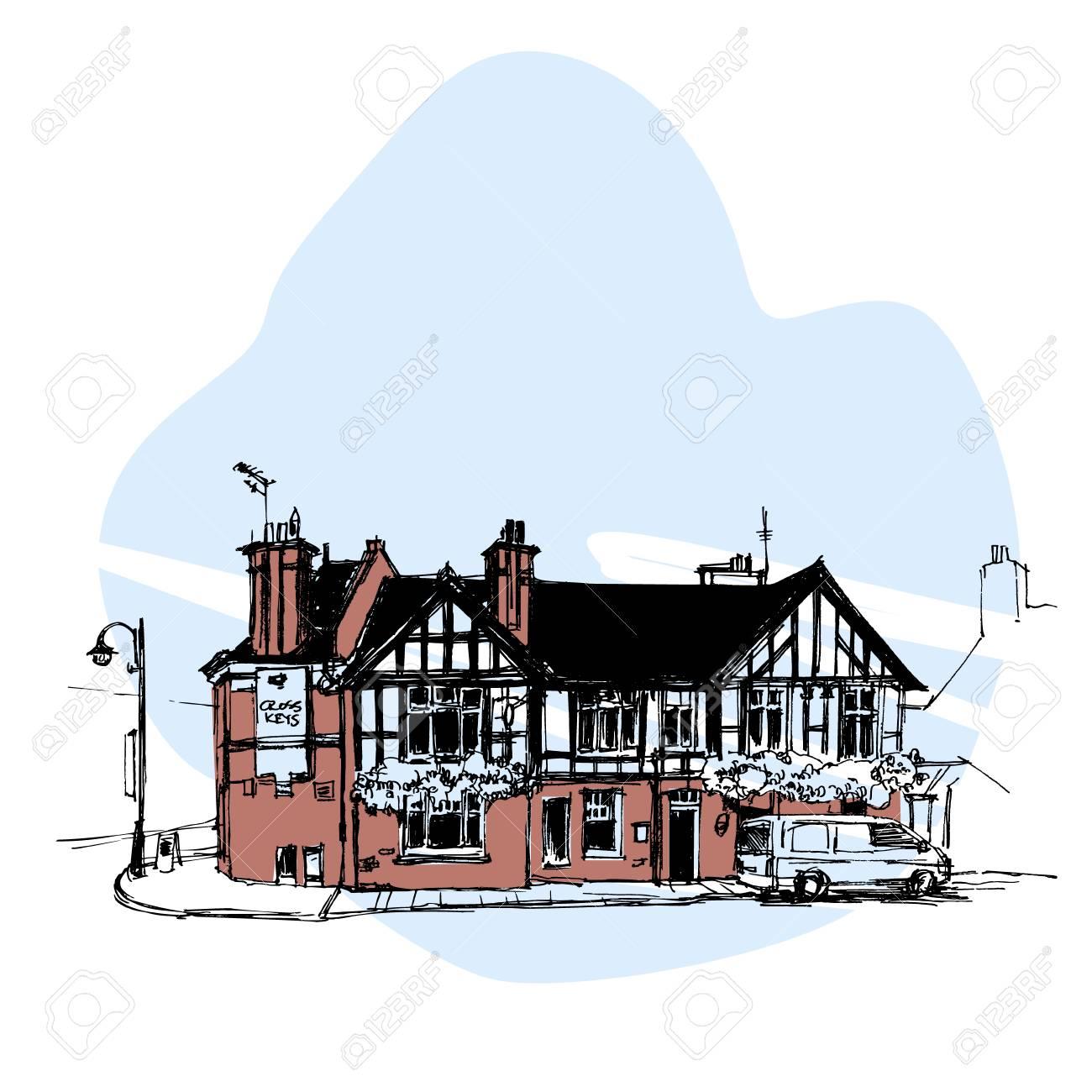 Banque dimages maison anglaise dessiné à la main croquis urbain style vector illustration isolée sur fond bleu croquis style dessin de maison anglaise