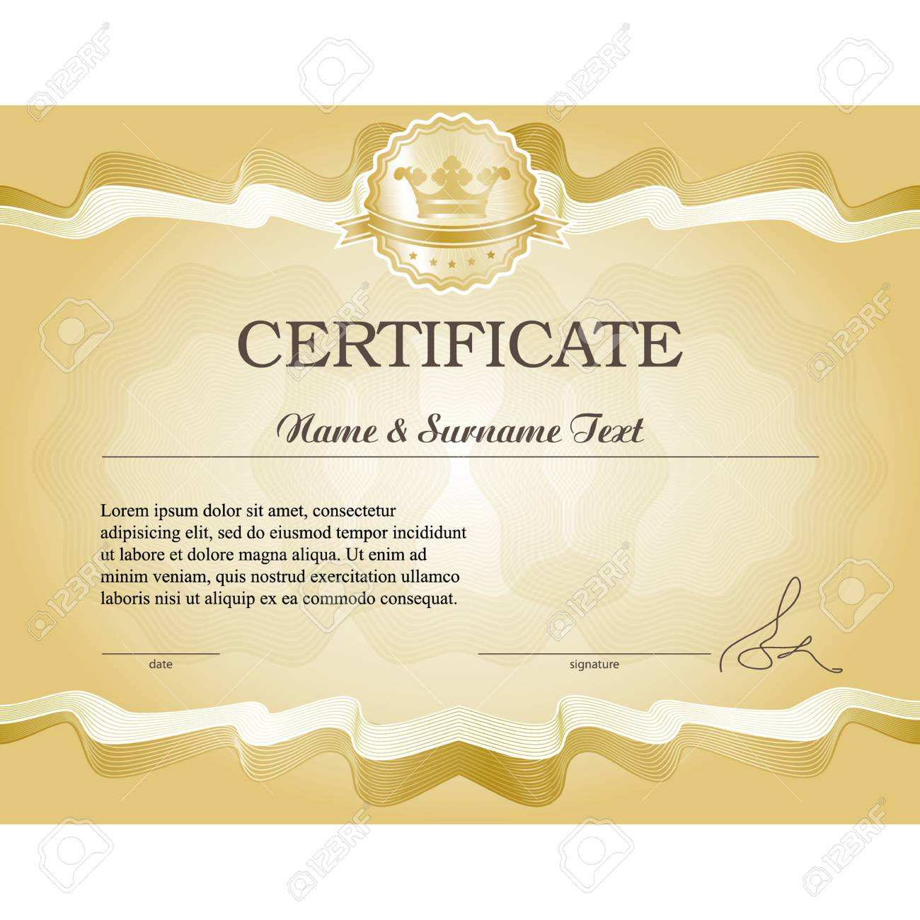 Gold Certificate Vector Illustration Grouped For Easy Editing