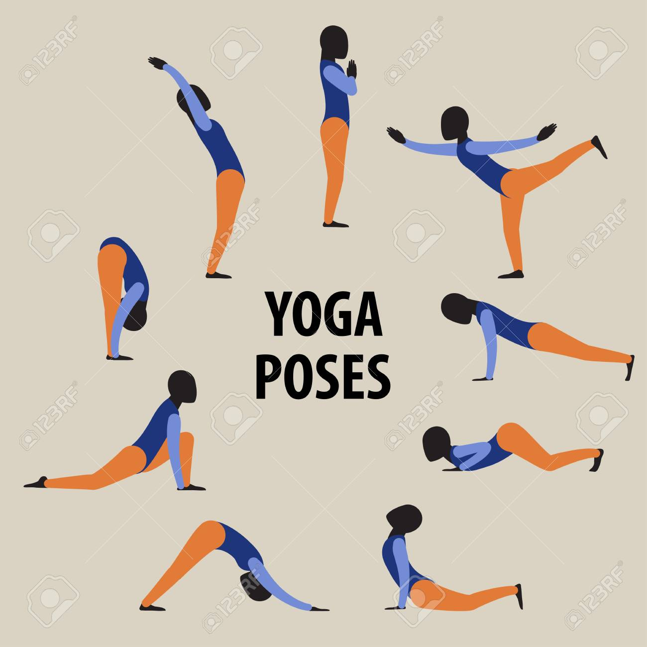 Yoga Poses Set Gymnastics For Healthy Lifestyle Vector Illustration Grouped Easy Editing