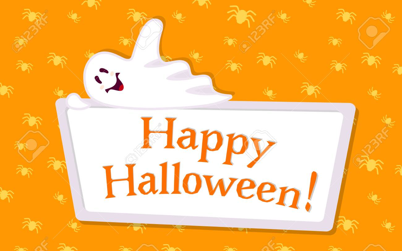 Happy Halloween Empty Banner With Ghost Cartoon. Holiday Spooky.. Stock  Photo, Picture And Royalty Free Image. Image 147705247.
