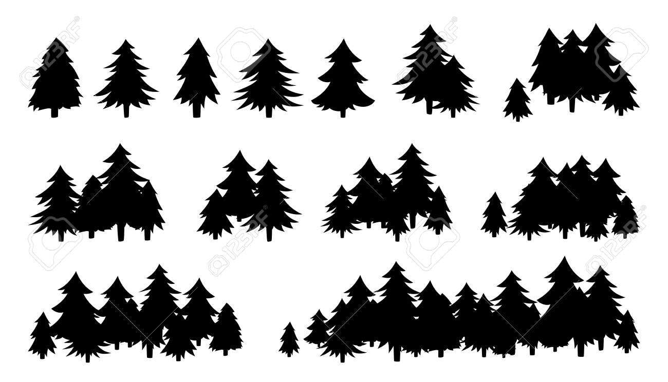 Forest trees textured, black silhouette. Hand drawn landscapes flat monochrome shape. Evergreen woods horizon. Various forms of cartoon wood. Vector illustration on white background - 154717145