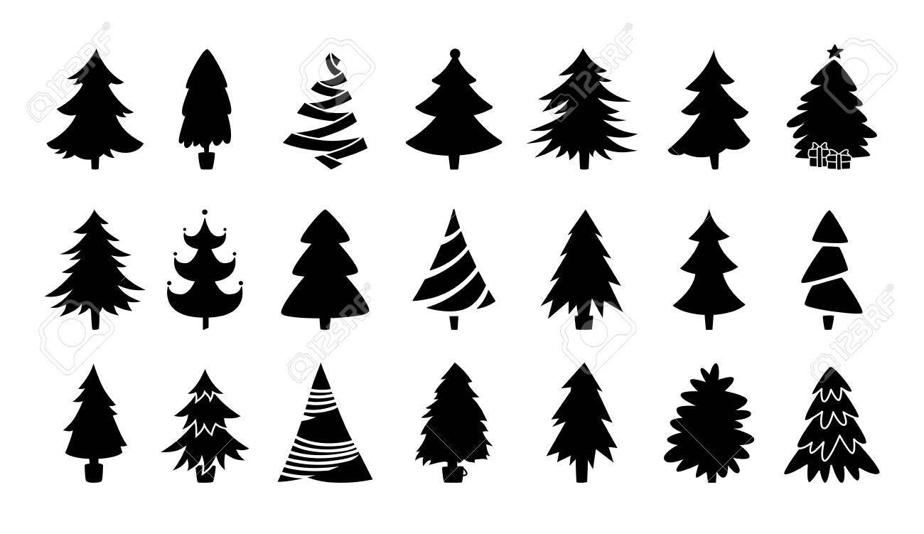Christmas tree black silhouette collection. Hand drawing monochrome xmas trees cartoon set. New Year traditional design ornaments, stars, garlands. Stylized symbol for holiday flat vector illustration - 155089830