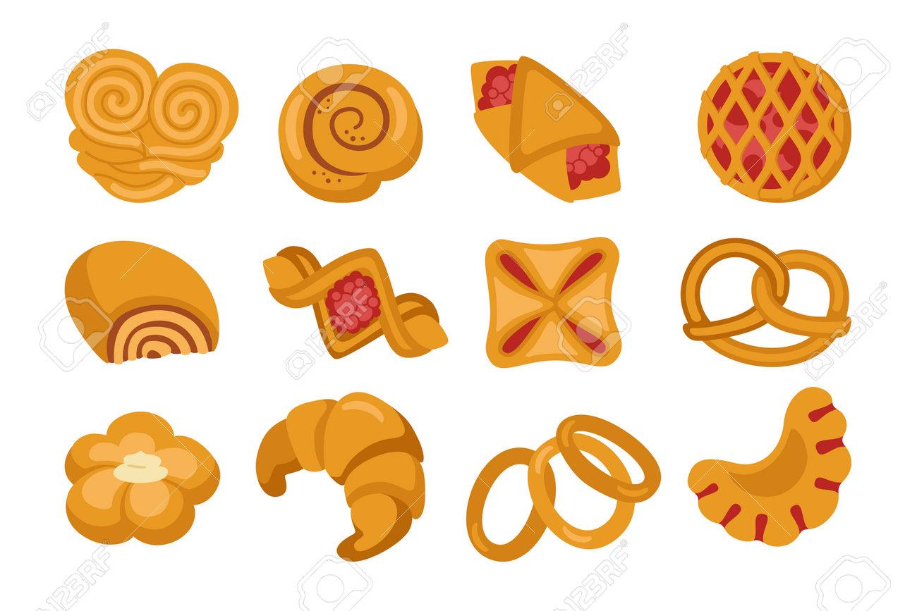 Sweet buns cartoon icon set. Bakery goods and wicker bun pretzel, bagel, croissant puff pastry, roll. Design menu bakery symbol. Stylish icon modern vector illustration - 162536792