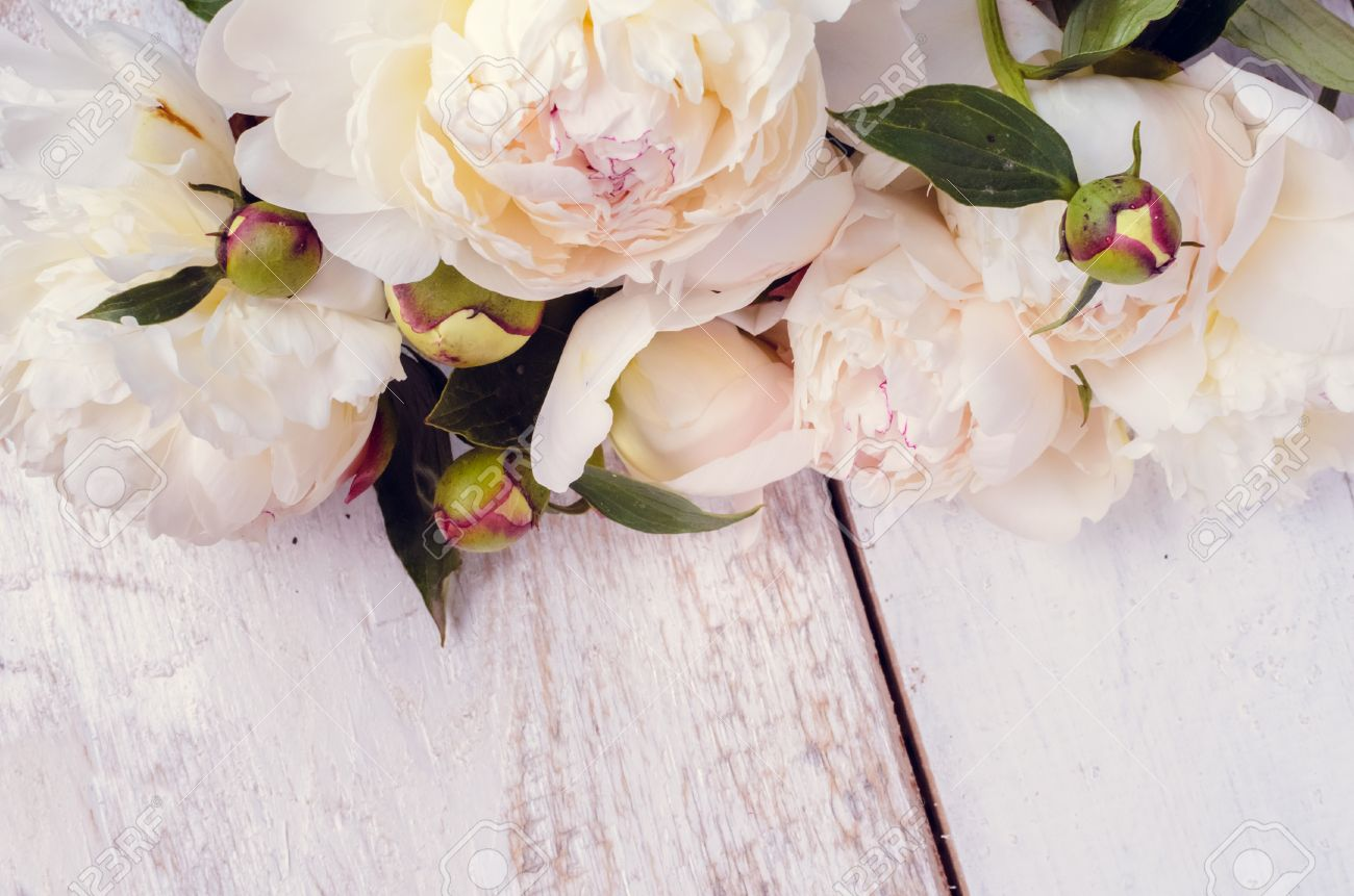 Peony background white peonies on wooden table with place for white peonies on wooden table with place for text spring flowers peonies mightylinksfo