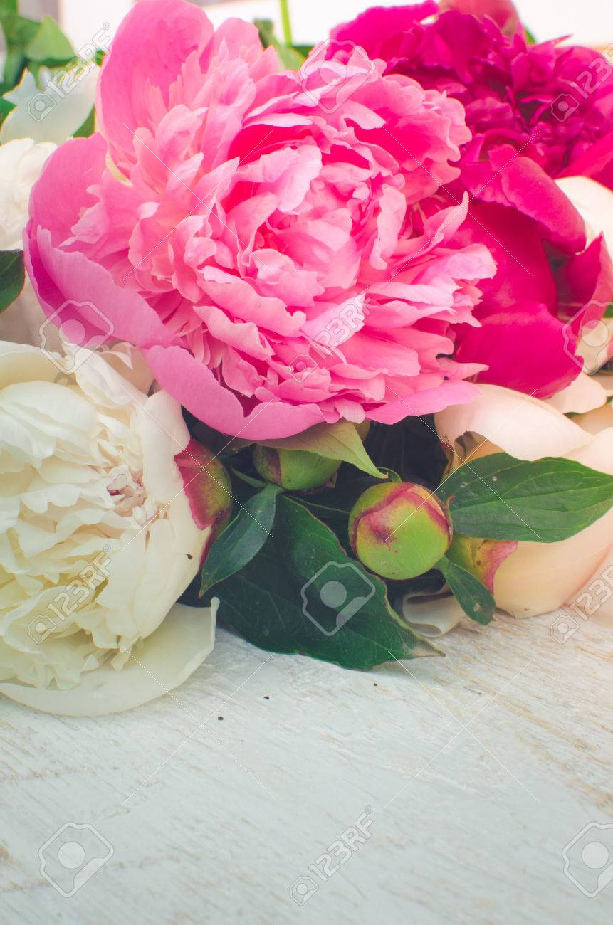 Peony background fuchsia pink and white peonies on wooden table fuchsia pink and white peonies on wooden table with place for text mightylinksfo