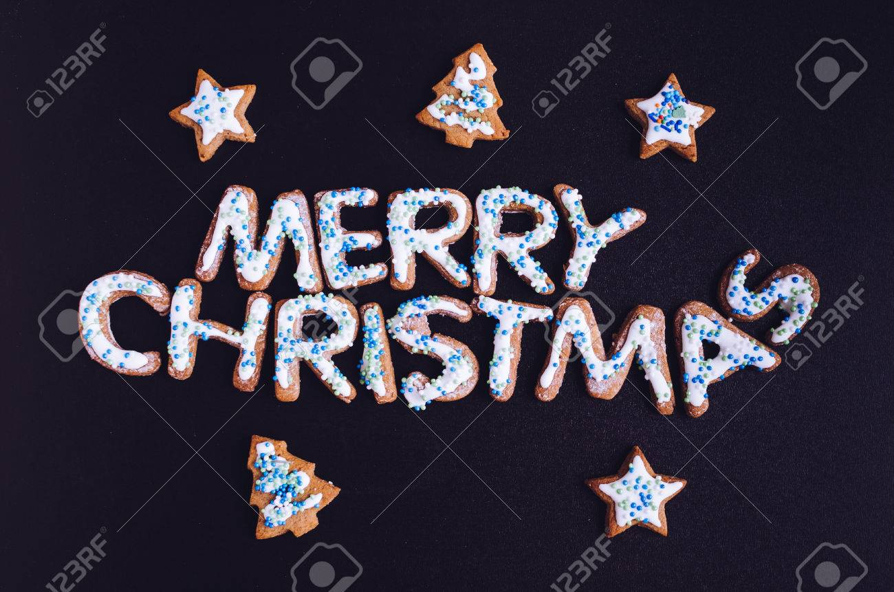 Wording Merry Christmas From Homemade Gingerbread Cookies With