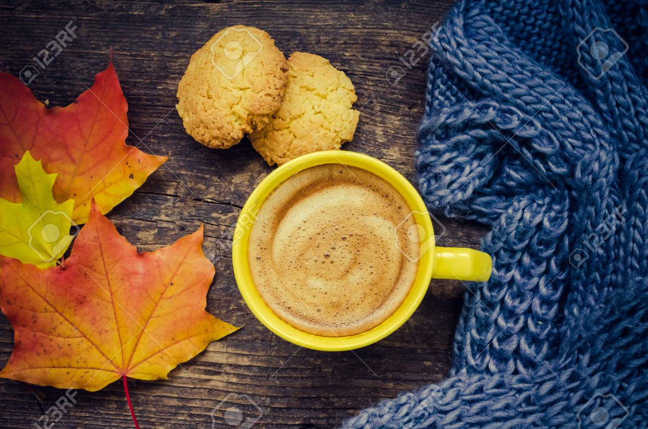 Autumn Still Life Warm Knitted Scarf Cup Of Coffee And Cookies Stock Photo Picture And Royalty Free Image Image 87337762
