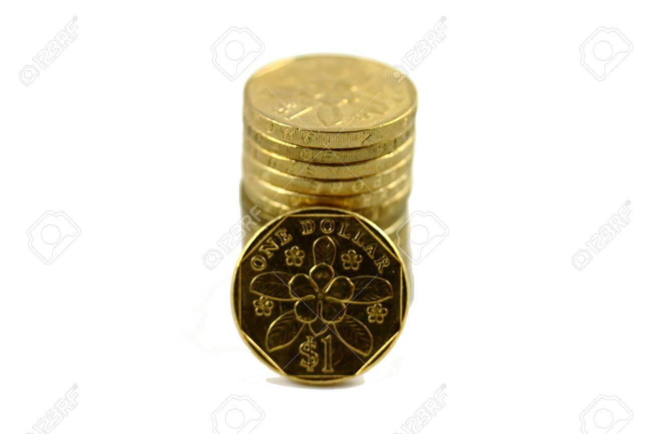 Stapel Von Einem 1 Singapur Dollar Münzen Mit Einer Medaille Die