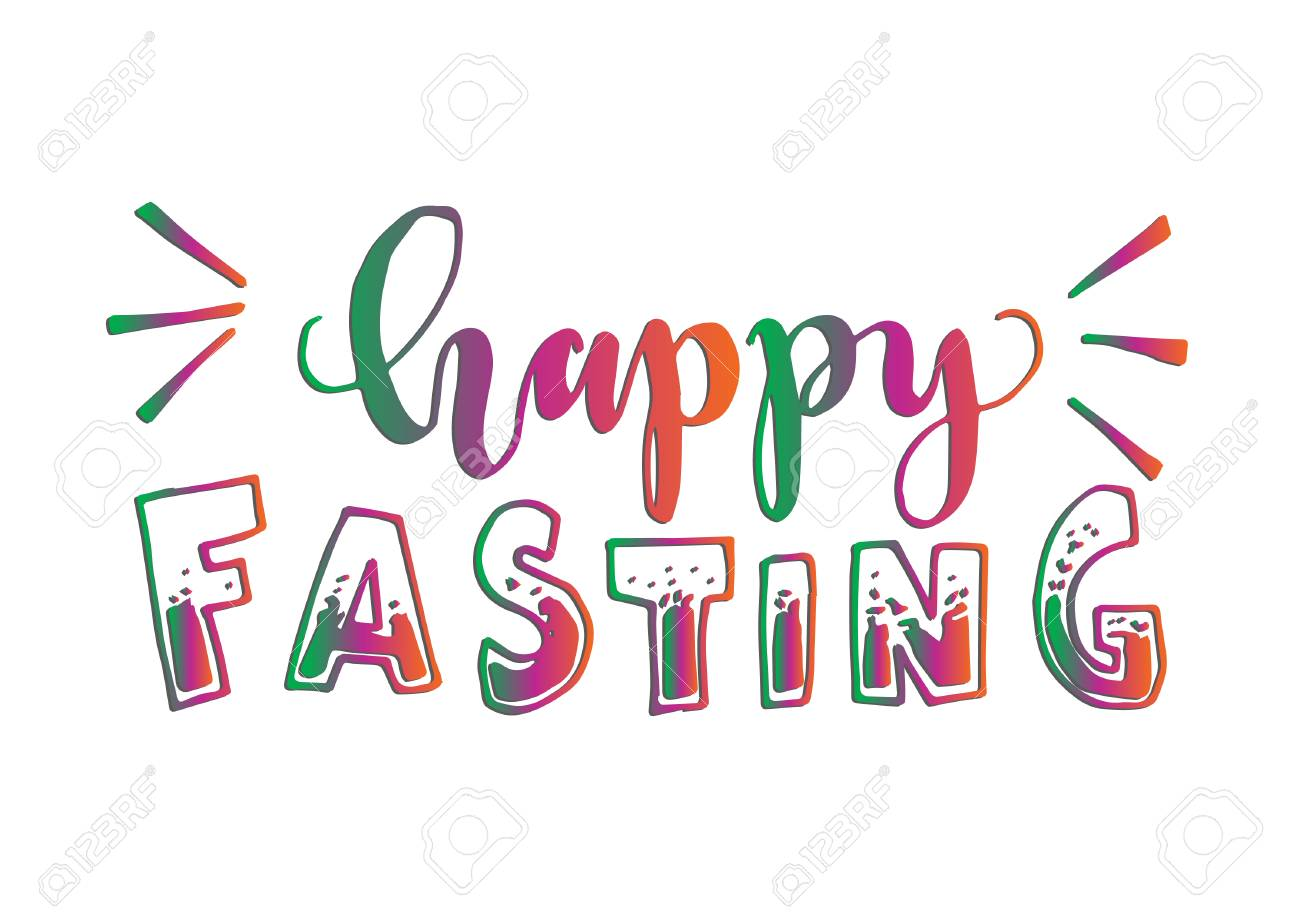 happy fasting have a blessed ramadan on white background hand