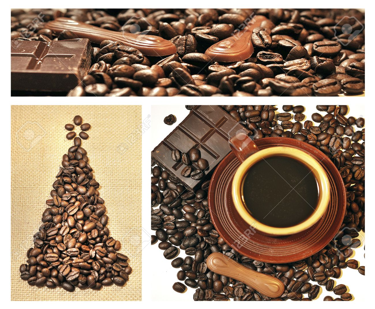 Collage Of Christmas Tree From Coffee Beans, Chocolate, Cups Stock ...