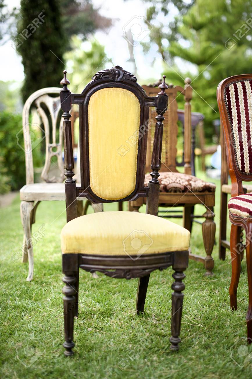 Vintage Wooden Chairs >> Vintage Wooden Chairs Decor For A Wedding Event Stock Photo Picture