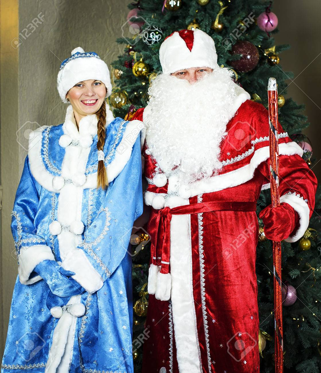 Russian Christmas.Russian Christmas Characters Ded Moroz Father Frost And Snegurochka