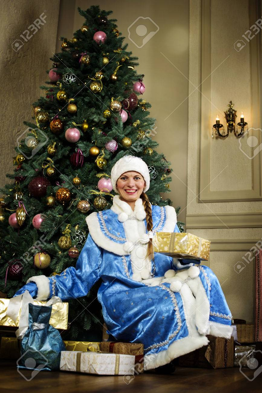 russian christmas characters snegurochka snow girl around stock