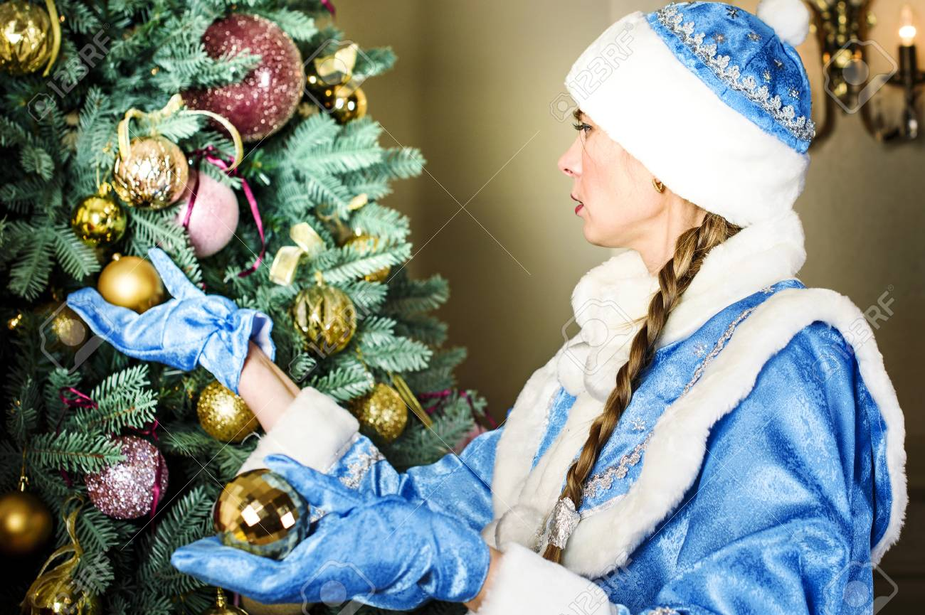 Russian Christmas.Russian Christmas Characters Snegurochka Snow Girl Around